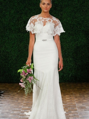 Model walks runway in a bridal gown from the D.I.D by Watters Fall 2014 collection, by Vatana Watters, at the Couture Show during New York Bridal Fashion Week, April 12, 2014.